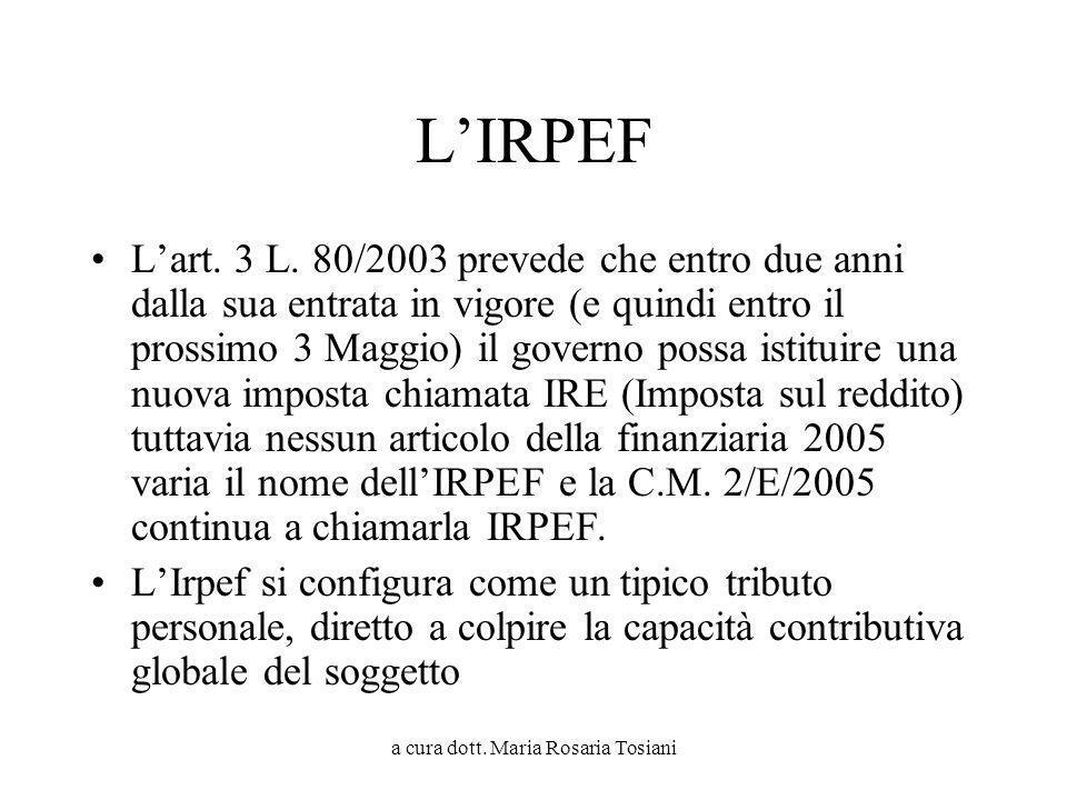 a cura dott. Maria Rosaria Tosiani LIRPEF Lart. 3 L. 80/2003 prevede che entro due anni dalla sua entrata in vigore (e quindi entro il prossimo 3 Magg