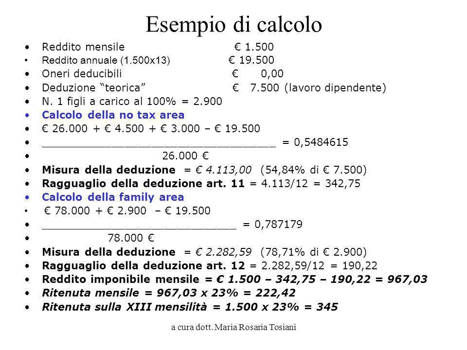 a cura dott. Maria Rosaria Tosiani Esempio di calcolo Reddito mensile 1.500 Reddito annuale (1.500x13) 19.500 Oneri deducibili 0,00 Deduzione teorica