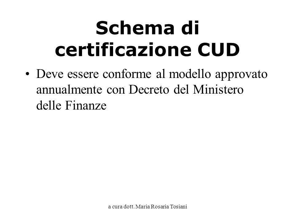 a cura dott. Maria Rosaria Tosiani Schema di certificazione CUD Deve essere conforme al modello approvato annualmente con Decreto del Ministero delle