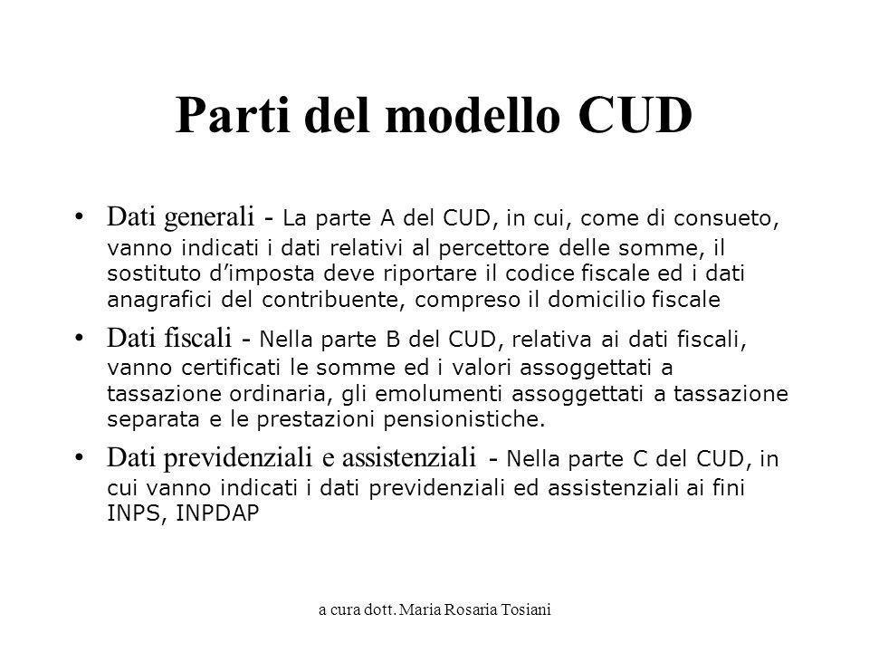 a cura dott. Maria Rosaria Tosiani Parti del modello CUD Dati generali - La parte A del CUD, in cui, come di consueto, vanno indicati i dati relativi