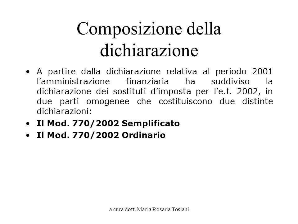 a cura dott. Maria Rosaria Tosiani Composizione della dichiarazione A partire dalla dichiarazione relativa al periodo 2001 lamministrazione finanziari