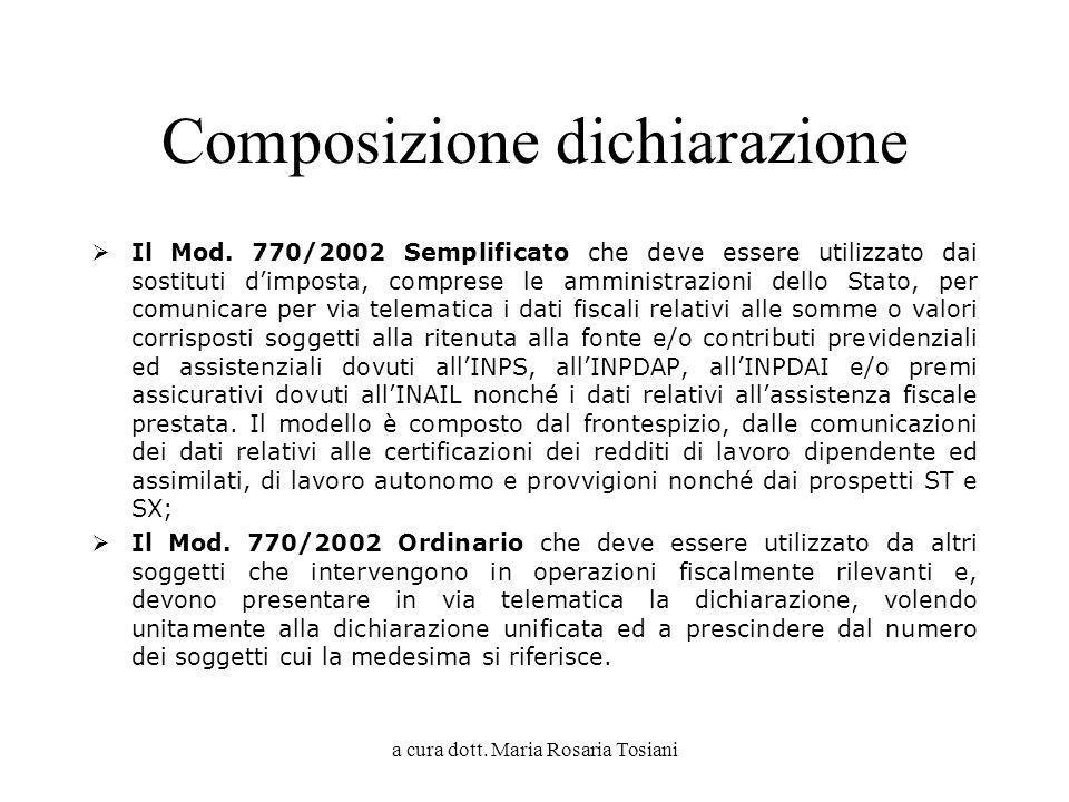 a cura dott. Maria Rosaria Tosiani Composizione dichiarazione Il Mod. 770/2002 Semplificato che deve essere utilizzato dai sostituti dimposta, compres