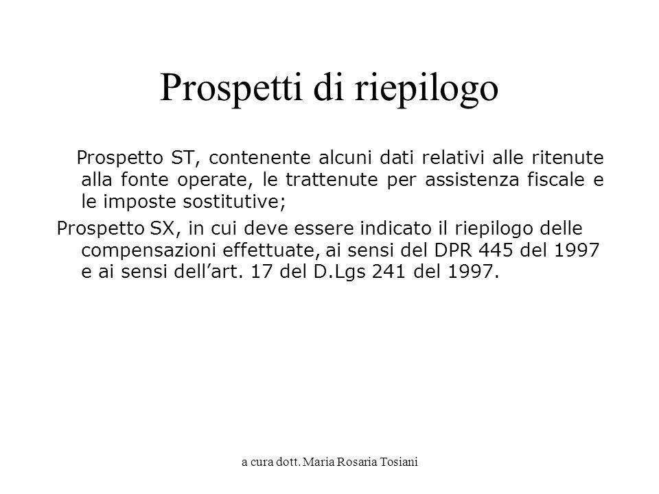 a cura dott. Maria Rosaria Tosiani Prospetti di riepilogo Prospetto ST, contenente alcuni dati relativi alle ritenute alla fonte operate, le trattenut