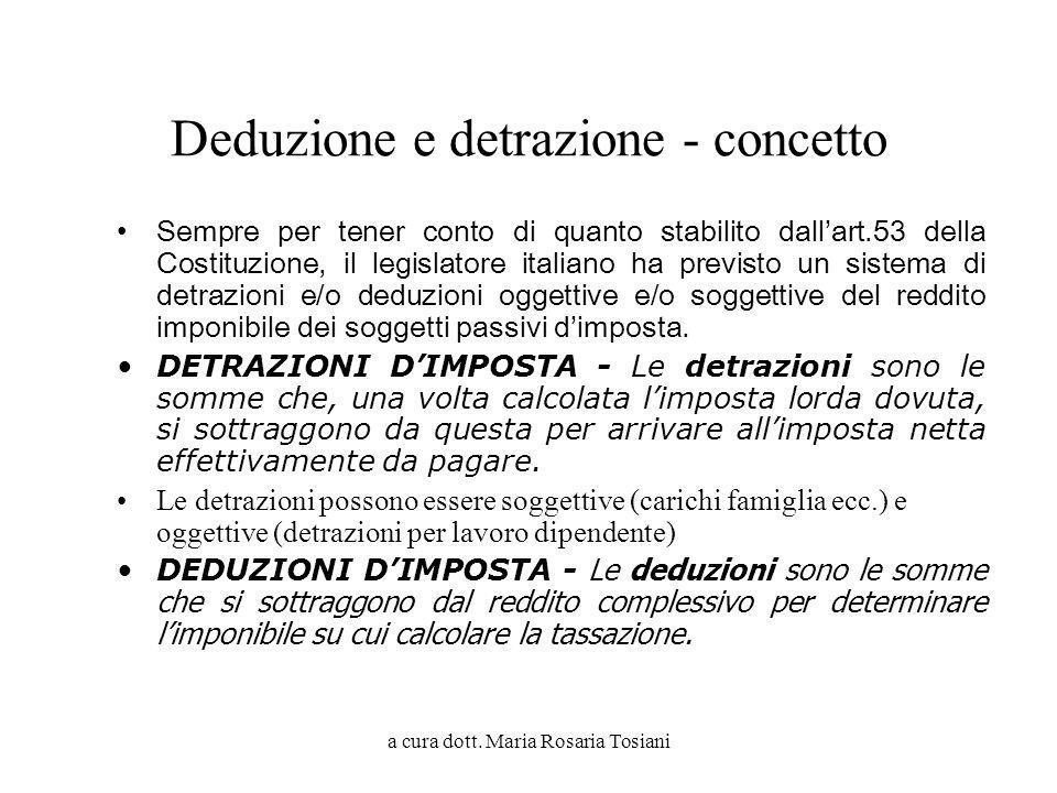 a cura dott. Maria Rosaria Tosiani Deduzione e detrazione - concetto Sempre per tener conto di quanto stabilito dallart.53 della Costituzione, il legi