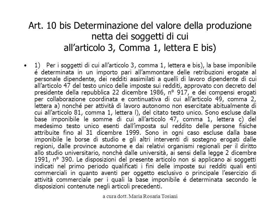 a cura dott. Maria Rosaria Tosiani Art. 10 bis Determinazione del valore della produzione netta dei soggetti di cui allarticolo 3, Comma 1, lettera E