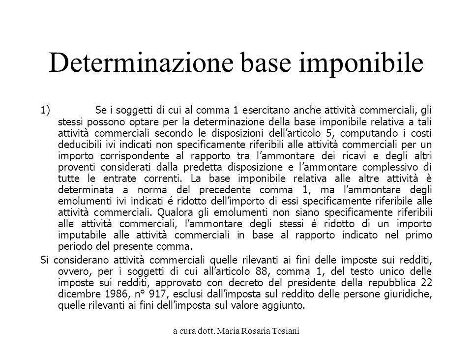 a cura dott. Maria Rosaria Tosiani Determinazione base imponibile 1) Se i soggetti di cui al comma 1 esercitano anche attività commerciali, gli stessi