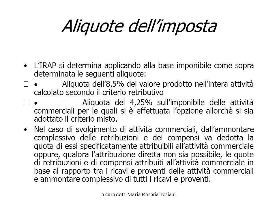 a cura dott. Maria Rosaria Tosiani Aliquote dellimposta LIRAP si determina applicando alla base imponibile come sopra determinata le seguenti aliquote