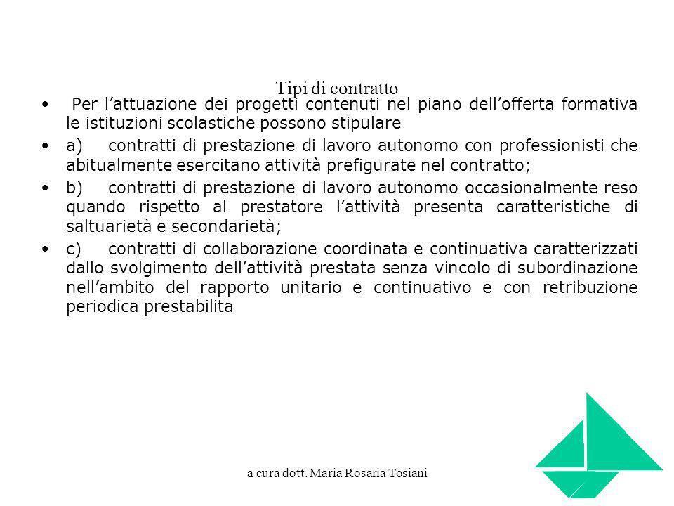 a cura dott. Maria Rosaria Tosiani Tipi di contratto Per lattuazione dei progetti contenuti nel piano dellofferta formativa le istituzioni scolastiche