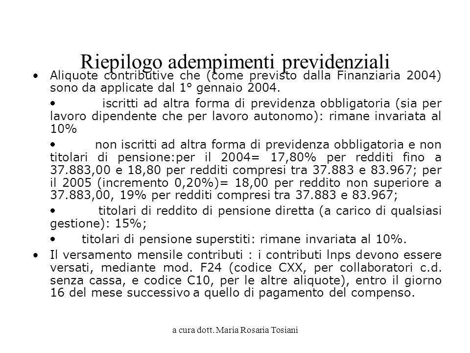 a cura dott. Maria Rosaria Tosiani Riepilogo adempimenti previdenziali Aliquote contributive che (come previsto dalla Finanziaria 2004) sono da applic