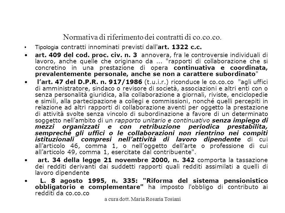 a cura dott. Maria Rosaria Tosiani Normativa di riferimento dei contratti di co.co.co. Tipologia contratti innominati previsti dall'art. 1322 c.c. art