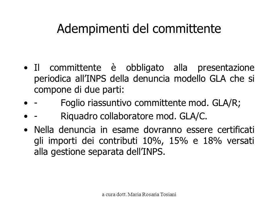 a cura dott. Maria Rosaria Tosiani Adempimenti del committente Il committente è obbligato alla presentazione periodica allINPS della denuncia modello