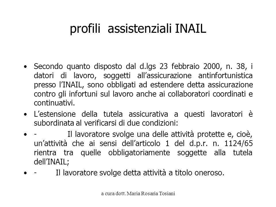 a cura dott. Maria Rosaria Tosiani profili assistenziali INAIL Secondo quanto disposto dal d.lgs 23 febbraio 2000, n. 38, i datori di lavoro, soggetti