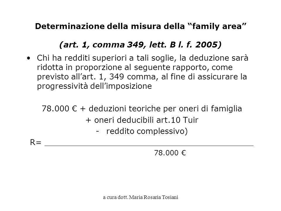 a cura dott. Maria Rosaria Tosiani Determinazione della misura della family area (art. 1, comma 349, lett. B l. f. 2005) Chi ha redditi superiori a ta
