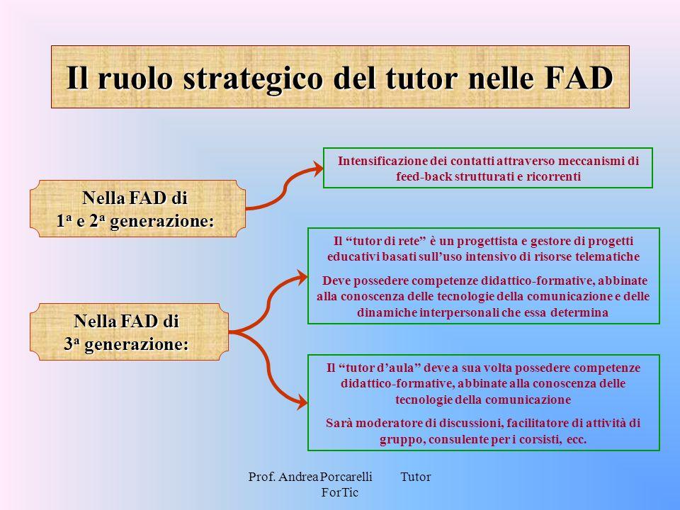 Prof. Andrea Porcarelli Tutor ForTic Il ruolo strategico del tutor nelle FAD Nella FAD di 1 a e 2 a generazione: Intensificazione dei contatti attrave