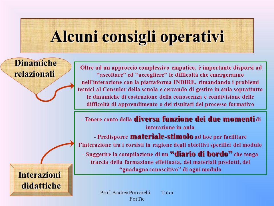 Prof. Andrea Porcarelli Tutor ForTic Alcuni consigli operativi Oltre ad un approccio complessivo empatico, è importante disporsi ad ascoltare ed accog