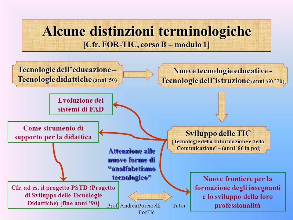 Prof. Andrea Porcarelli Tutor ForTic Alcune distinzioni terminologiche [Cfr. FOR-TIC, corso B – modulo 1] Tecnologie delleducazione – Tecnologie didat