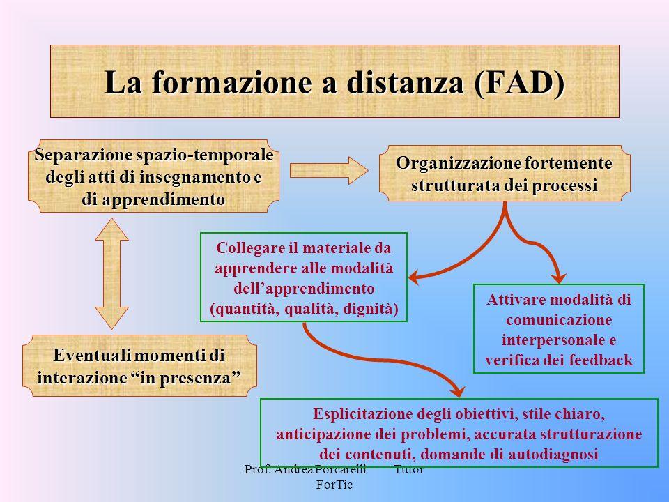 Prof. Andrea Porcarelli Tutor ForTic La formazione a distanza (FAD) Separazione spazio-temporale degli atti di insegnamento e di apprendimento Organiz