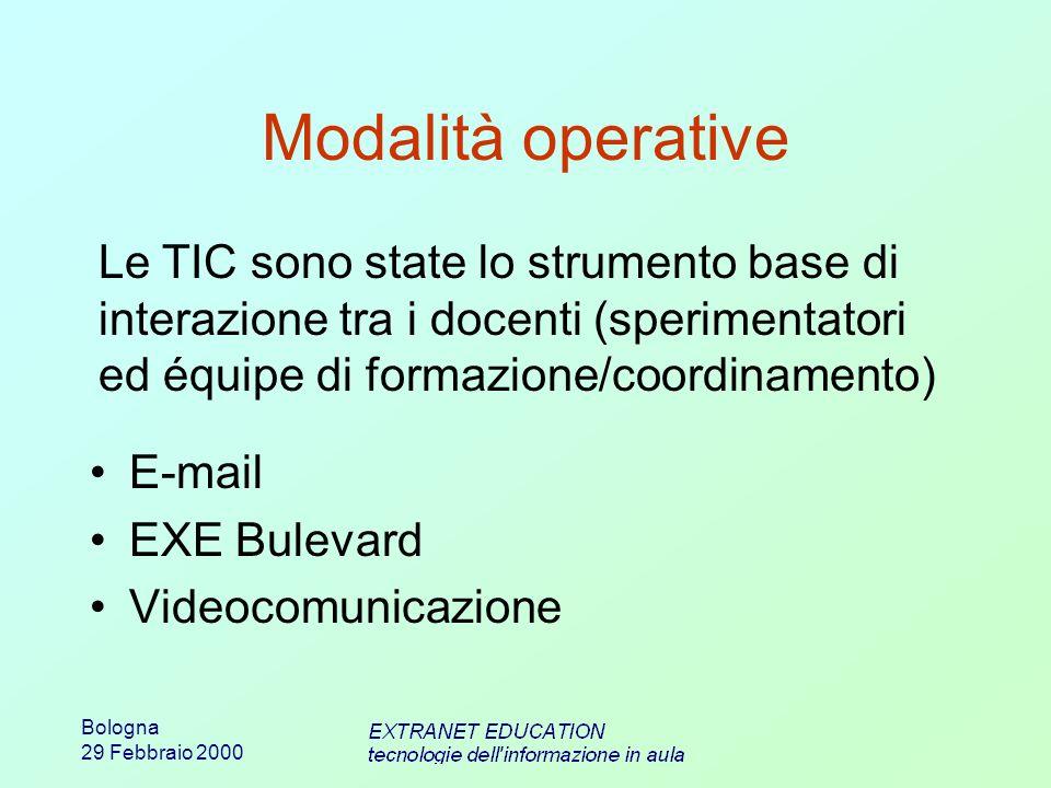 Bologna 29 Febbraio 2000 Modalità operative E-mail EXE Bulevard Videocomunicazione Le TIC sono state lo strumento base di interazione tra i docenti (s