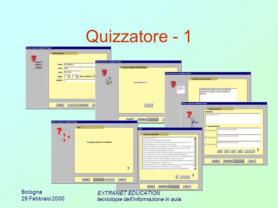 Bologna 29 Febbraio 2000 La docente ha predisposto il questionario seguendo i passi previsti Quizzatore - 1
