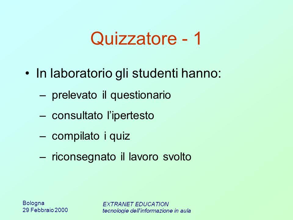 Bologna 29 Febbraio 2000 Quizzatore - 1 In laboratorio gli studenti hanno: – prelevato il questionario – consultato lipertesto – compilato i quiz – riconsegnato il lavoro svolto