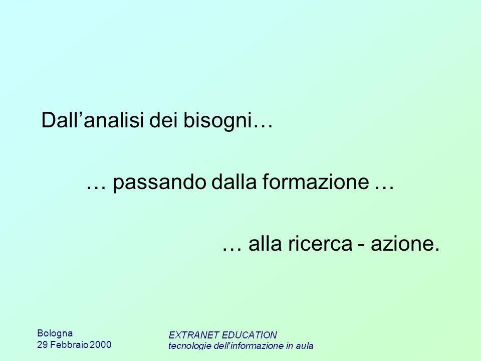 Bologna 29 Febbraio 2000 Dallanalisi dei bisogni… … passando dalla formazione … … alla ricerca - azione.