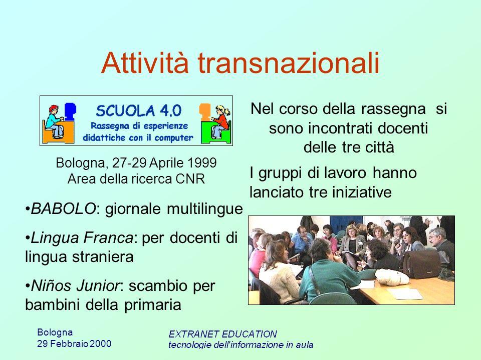 Bologna 29 Febbraio 2000 Attività transnazionali Bologna, 27-29 Aprile 1999 Area della ricerca CNR Nel corso della rassegna si sono incontrati docenti