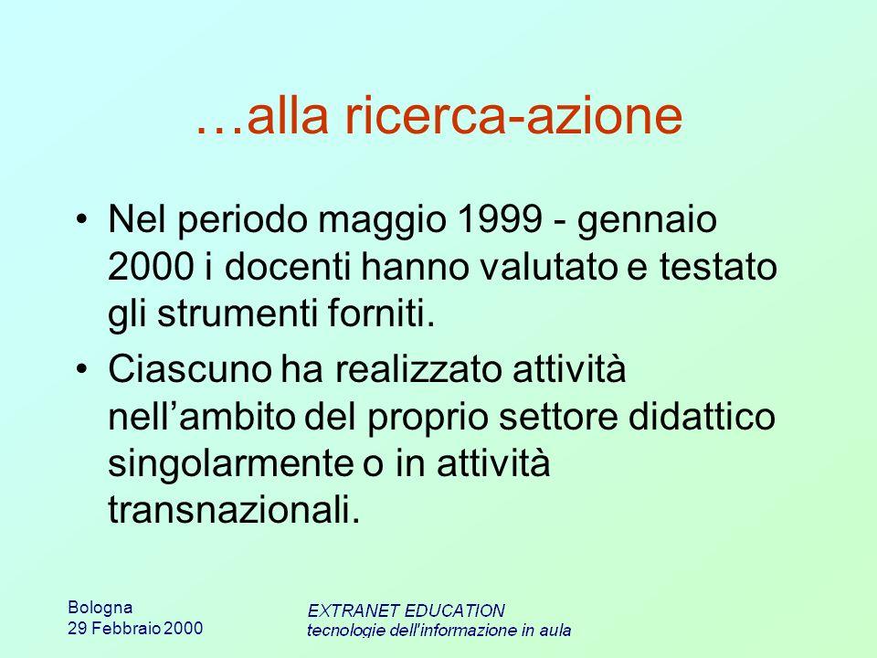 Bologna 29 Febbraio 2000 …alla ricerca-azione Nel periodo maggio 1999 - gennaio 2000 i docenti hanno valutato e testato gli strumenti forniti. Ciascun
