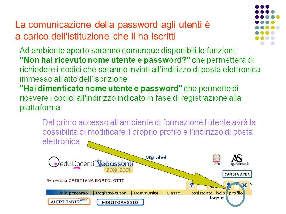 La comunicazione della password agli utenti è a carico dell'istituzione che li ha iscritti Ad ambiente aperto saranno comunque disponibili le funzioni