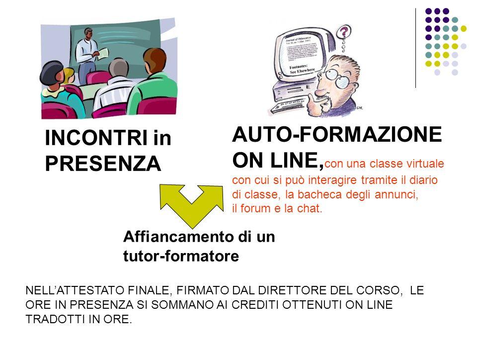 INCONTRI in PRESENZA AUTO-FORMAZIONE ON LINE, con una classe virtuale con cui si può interagire tramite il diario di classe, la bacheca degli annunci,