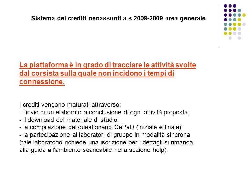 Sistema dei crediti neoassunti a.s 2008-2009 area generale La piattaforma è in grado di tracciare le attività svolte dal corsista sulla quale non inci