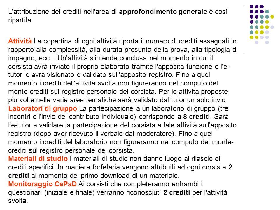 L'attribuzione dei crediti nell'area di approfondimento generale è così ripartita: Attività La copertina di ogni attività riporta il numero di crediti