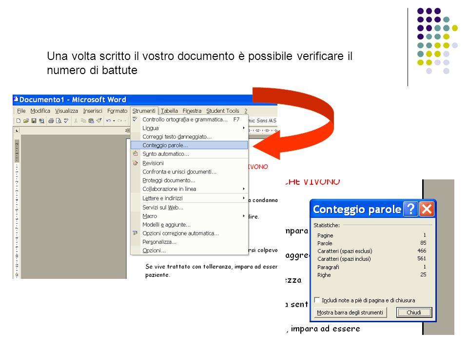 Una volta scritto il vostro documento è possibile verificare il numero di battute
