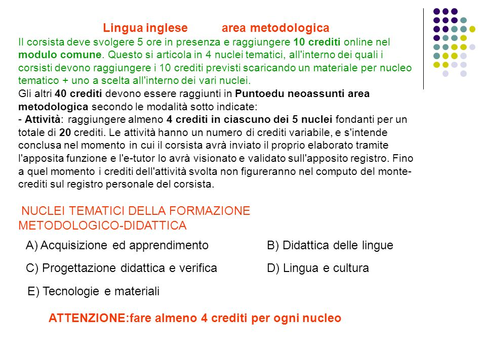 Lingua inglese area metodologica Il corsista deve svolgere 5 ore in presenza e raggiungere 10 crediti online nel modulo comune. Questo si articola in