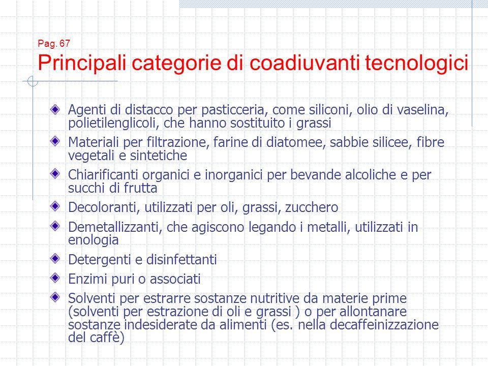 Pag. 67 Principali categorie di coadiuvanti tecnologici Agenti di distacco per pasticceria, come siliconi, olio di vaselina, polietilenglicoli, che ha