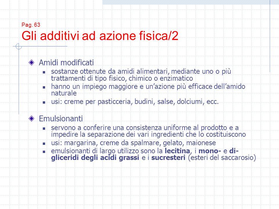 Pag. 63 Gli additivi ad azione fisica/2 Amidi modificati sostanze ottenute da amidi alimentari, mediante uno o più trattamenti di tipo fisico, chimico