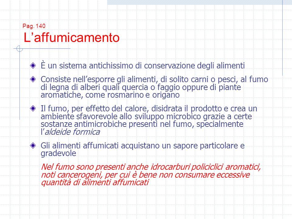 Pag. 140 Laffumicamento È un sistema antichissimo di conservazione degli alimenti Consiste nellesporre gli alimenti, di solito carni o pesci, al fumo