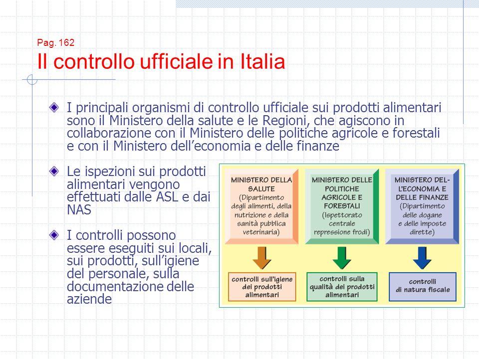 Pag. 162 Il controllo ufficiale in Italia Le ispezioni sui prodotti alimentari vengono effettuati dalle ASL e dai NAS I controlli possono essere esegu