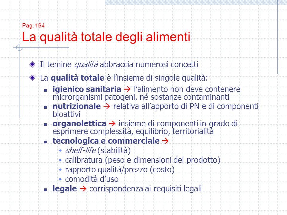 Pag. 164 La qualità totale degli alimenti Il temine qualità abbraccia numerosi concetti La qualità totale è linsieme di singole qualità: igienico sani