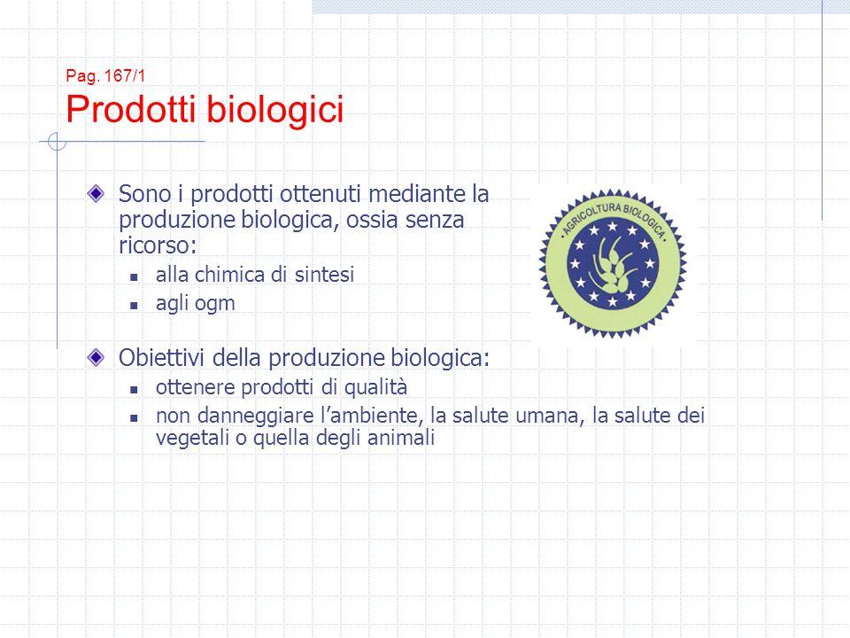 Pag. 167/1 Prodotti biologici Sono i prodotti ottenuti mediante la produzione biologica, ossia senza ricorso: alla chimica di sintesi agli ogm Obietti