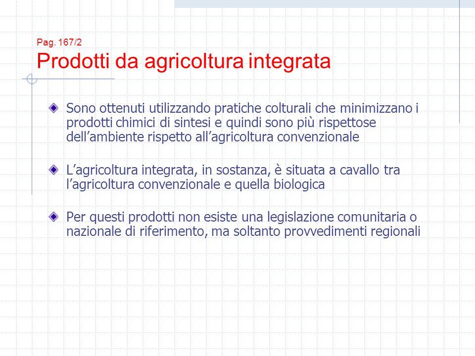 Pag. 167/2 Prodotti da agricoltura integrata Sono ottenuti utilizzando pratiche colturali che minimizzano i prodotti chimici di sintesi e quindi sono