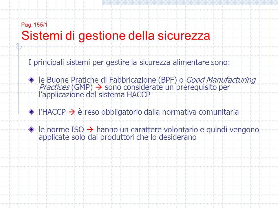 Pag. 155/1 Sistemi di gestione della sicurezza I principali sistemi per gestire la sicurezza alimentare sono: le Buone Pratiche di Fabbricazione (BPF)