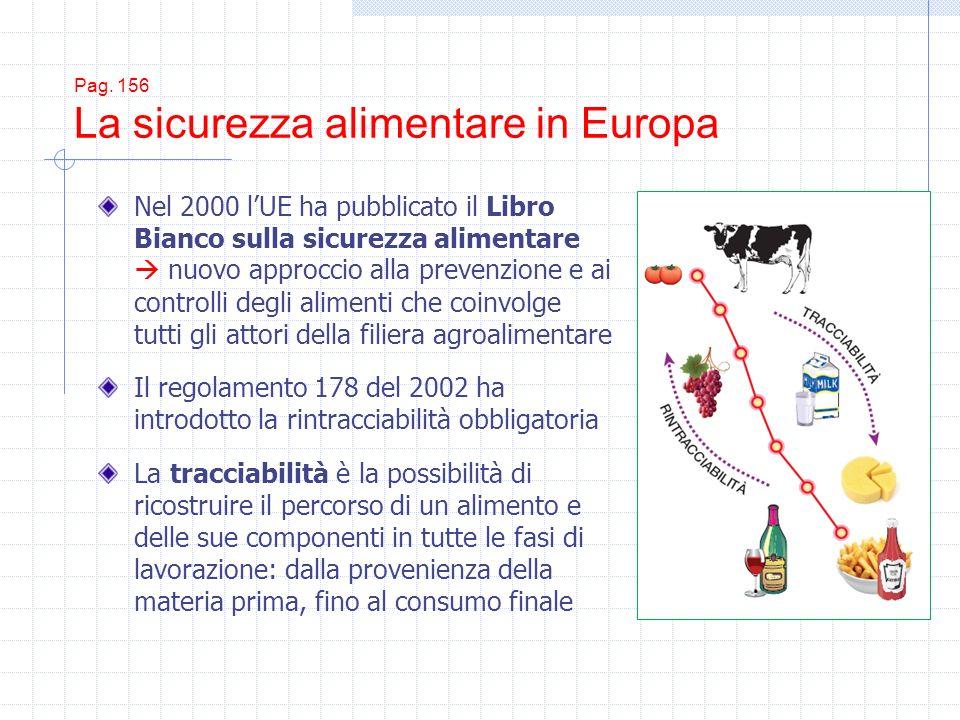 Pag. 156 La sicurezza alimentare in Europa Nel 2000 lUE ha pubblicato il Libro Bianco sulla sicurezza alimentare nuovo approccio alla prevenzione e ai