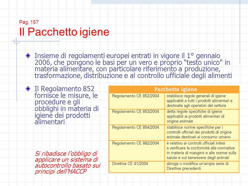Pag. 157 Il Pacchetto igiene Il Regolamento 852 fornisce le misure, le procedure e gli obblighi in materia di igiene dei prodotti alimentari Si ribadi