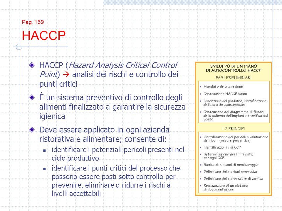 Pag. 159 HACCP HACCP (Hazard Analysis Critical Control Point) analisi dei rischi e controllo dei punti critici È un sistema preventivo di controllo de