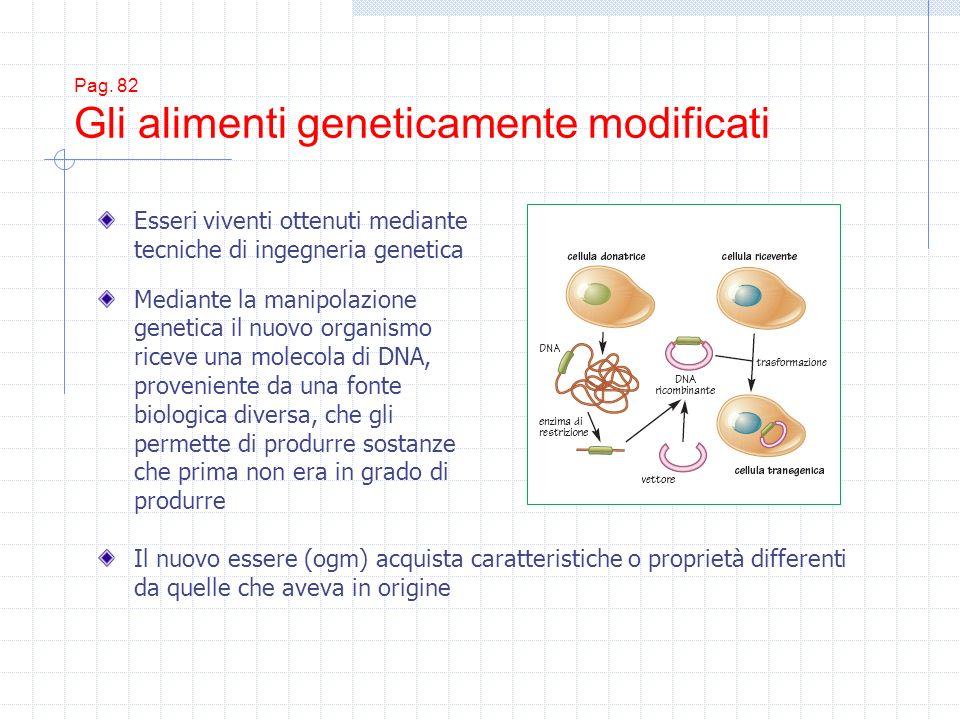 Pag. 82 Gli alimenti geneticamente modificati Esseri viventi ottenuti mediante tecniche di ingegneria genetica Mediante la manipolazione genetica il n
