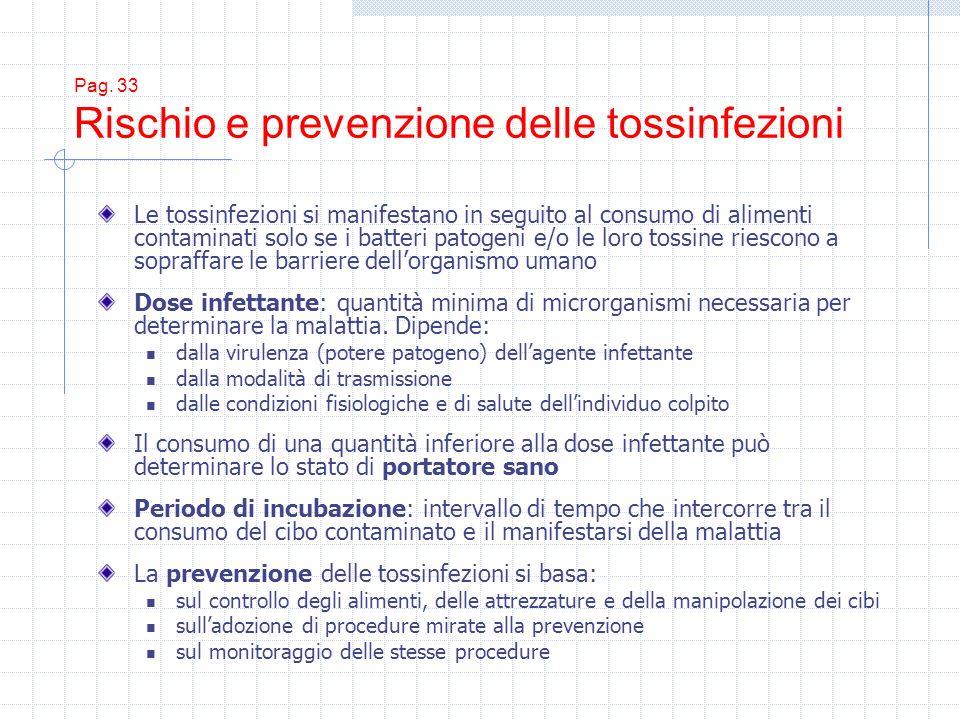 Pag. 33 Rischio e prevenzione delle tossinfezioni Le tossinfezioni si manifestano in seguito al consumo di alimenti contaminati solo se i batteri pato