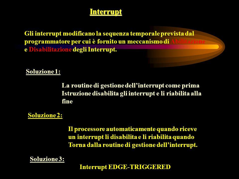 Interrupt Gli interrupt modificano la sequenza temporale prevista dal programmatore per cui è fornito un meccanismo di Abilitazione e Disabilitazione