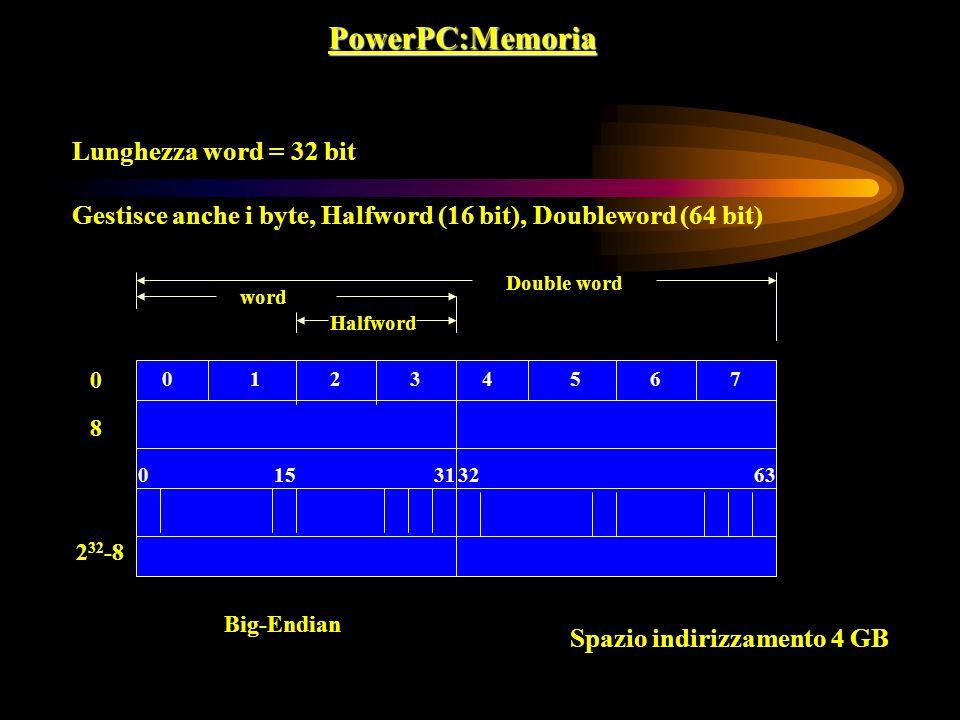 PowerPC:Memoria Lunghezza word = 32 bit Gestisce anche i byte, Halfword (16 bit), Doubleword (64 bit) 01 31 0 8 2 32 -8 Big-Endian 150 Halfword word S