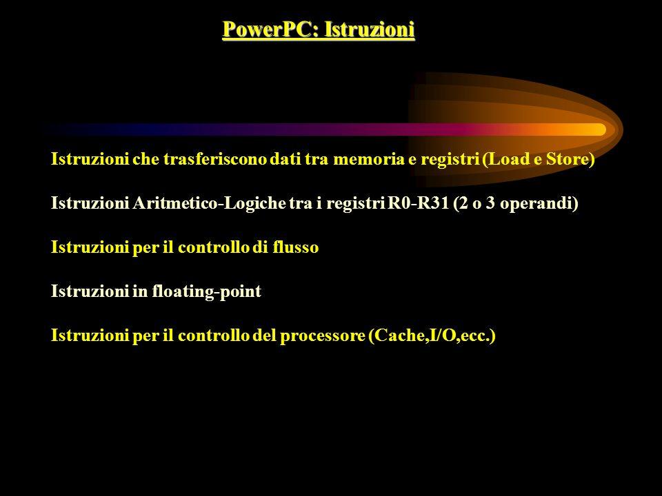 PowerPC: Istruzioni Istruzioni che trasferiscono dati tra memoria e registri (Load e Store) Istruzioni Aritmetico-Logiche tra i registri R0-R31 (2 o 3