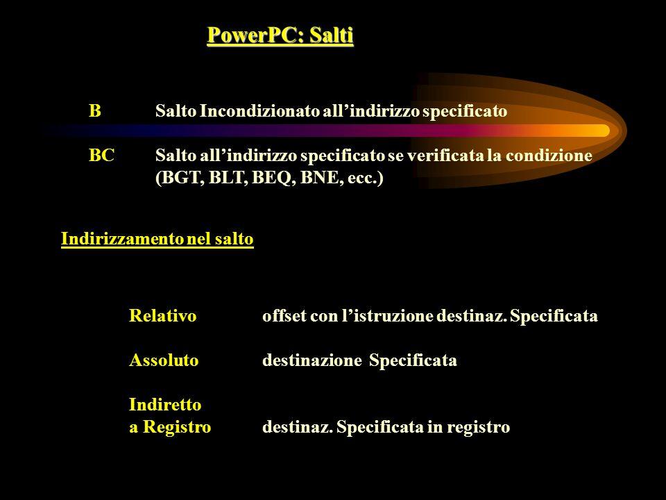 PowerPC: Salti BSalto Incondizionato allindirizzo specificato BCSalto allindirizzo specificato se verificata la condizione (BGT, BLT, BEQ, BNE, ecc.)